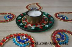 Kundan rangoli with tealight candle holder handmade by Opulence.  £11.00 OpulenceHQ@outlook.com