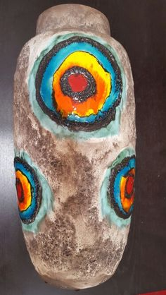 "GIANT Scheurich Fat Lava ""Bullseye"" floor vase 553-52"