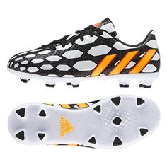 Adidas Predator Absolado Instinct Battle Pack TRX FG Youth Soccer Cleats (Core White/Solar Gold/Black). Put on your War Paint with Adidas Battle Pack, the boots that will be worn at the World Cup this summer.  Order your pair at SoccerCorner.com.