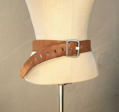 Vintage raw leather boho belt / distressed chunky leather hippie belt by dahlilafound, $55.00