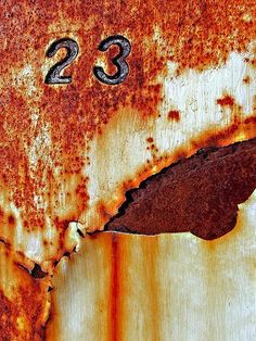 I love the visual cacophony of random numbers caught in nature. 23 in rust Rust Never Sleeps, Rust In Peace, Rusted Metal, Peeling Paint, Nature Artwork, Distressed Painting, Abstract Photography, Letters And Numbers, Textures Patterns