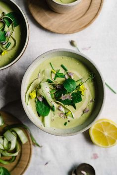 Creamy Tahini + Lemon-Asparagus Soup | Dolly and Oatmeal