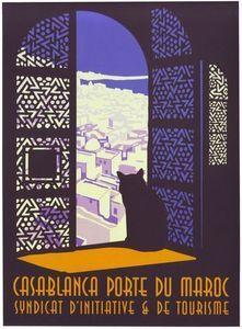 Vintage Travel Art Print Morocco Casablanca Cat Travel Poster - Print 8 x 10 - Retro Poster, Poster Ads, Vintage Travel Posters, Poster Prints, Retro Print, Art Prints, Morocco Tourism, Morocco Travel, Morocco Casablanca