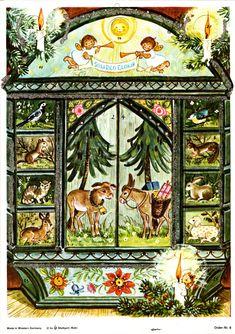 Vintage Advent Calendar Nativity Scene Animals Angels Mica Glitter W. Christmas Town, Noel Christmas, Vintage Christmas Ornaments, Christmas Postcards, Days In December, Calendar Pictures, Shabby Chic Christmas, Holiday Pictures, Glitter Cards