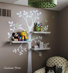 Nursery Tree Shelf Shelves with Bird Nest Leaf Leaves Birds Art Decals Wall Sticker Vinyl Wall Decal Stickers Living Room Bed Baby Room Tree Decals, Vinyl Wall Decals, Wall Stickers, Sticker Vinyl, Girl Room, Girls Bedroom, Child's Room, Pink Bedrooms, Baby Nursery Decor