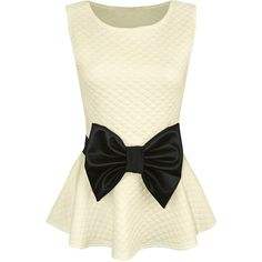 Forever Womens Sleeveless Quilted Wet Look Bow Flared Peplum Party Top... ($13) ❤ liked on Polyvore featuring tops, going out tops, bow top, shiny tops, holiday party tops and sleeveless peplum top