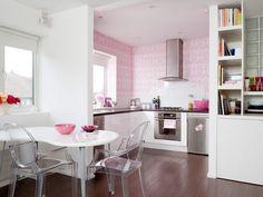 Papel de parede e itens da decoração cor de rosa!