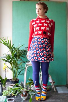 sweater: gift, socks: happy socks, skirt: second hand, dotted shirt: second hand, shoes: swedish hasbeens