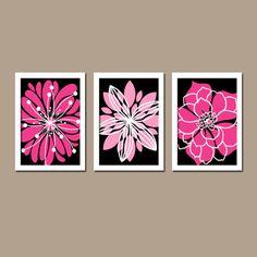 Wall Art Canvas Artwork Black Hot Pink White Flower by trmDesign, $29.00