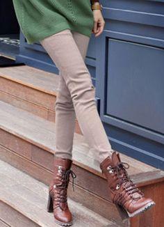 Elastic Apricot Slim Legging Pants Wholesale  Item Code:#GLGB36-5718+Apricot    US$11.10