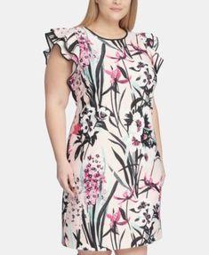 Tommy Hilfiger Plus Size Flutter-Sleeve Floral Scuba Dress - Pink Ladies Day Dresses, Pink Prom Dresses, Nice Dresses, Dresses With Sleeves, Summer Dresses, Plus Size Dresses, Plus Size Outfits, Scuba Dress, Dressy Tops