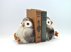 Vintage Owl Bookends Book Ends - Fitz and Floyd - Ceramic Owl Decor