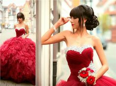 Gorgeous Quinceanera Dress,Sequin Quinceanera Dress,Wedding Dress,Red Quinceanera Dress,Sixteen Quinceanera Dress,Organza Quinceanera Dress,New Arrival Ball Gown Dress