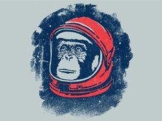Space Monkey - Fossil Tee by Jonathan Schubert Monkey Room, Monkey 2, Illustration Techniques, Illustration Art, Illustrations, Space Cowboys, Line Art, Printmaking, Fossil