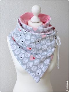 Schal mit Oese_Diy Leni Pepunkt_modage 04 Scarf with Oese_Diy Leni Pepunkt_modage 04 Headband Pattern, Knitted Headband, Diy Clothing, Sewing Clothes, Sewing Crafts, Sewing Projects, Kitten Collars, Diy Mode, Winter Headbands