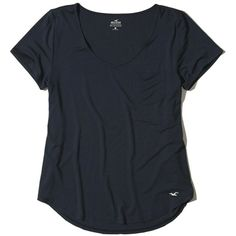 Hollister Must-Have Easy T-Shirt (€13) ❤ liked on Polyvore featuring tops, t-shirts, navy, v neck t shirts, v neck tee, pocket tees, v-neck tee and curved hem t shirt