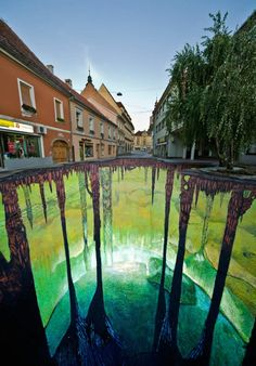 Edgar Mueller's third cave project shown here can be found in Ptuj, Slovenia. The mural was completed in four days right in time for the Culture Festival. #chalkart