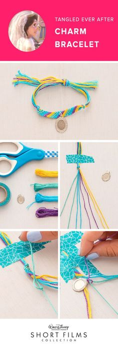 Tangled Ever After Charm Bracelets! Lay the first string on top of second string to create the number 4. Pull the string through to create a knot. Create two of these knots per string. Continue knotting with the first string until you reach the end of the line. The first string will now become the last string. Once you are half way done with your bracelet, add the charm onto the string before you start making your knot. Continue the knotting pattern till you have created a long enough…
