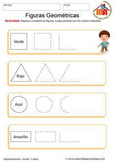 Ficha con ejercicios de figuras geométricas para niños de 5 años. Todos los días vemos o dibujamos infinidad de figuras entre las que mas usamos están...
