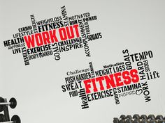 Thank you so much for visiting our shop. This listing is for 2 x large gym fitness wall decals 1.Workout Word cloud Decal(black/red) -size 1mtr x 57cm high(39 x 22) 2. Fitness Word cloud Decal(black/red)-size 1mtr x 57cm high (39 x 22) Great savings!! THIS VINYL WALL DECAL SET INCLUDES: • Your decal with transfer paper applied • Free practice decal • Free Squeegee • Easy step-by-step detailed instructions Why Choose Our Vinyl Wall Decals: *Easy to apply *Saves you money! *Profess...