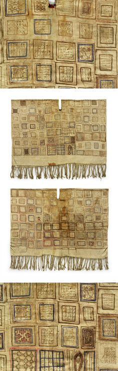 Africa | Man's (warrior) talismanic tunic from Senegal | Painted cotton.  The 164 squares contain Arabic inscriptions (Qur'anic verses), protective numerical formulas, abstract patterns | ca. prior to 1900