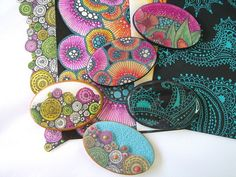 polymer clay and zentangles - really cool - via Flickr