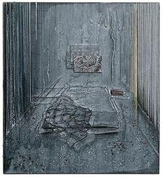 Michael Raedecker | Dim (2001) | acrylic and thread on canvas