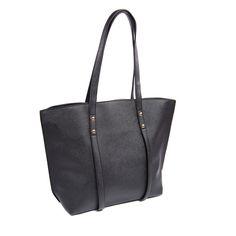 Vegan Leather Shopper Tote Handbag - Black @LiliesDreams