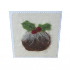Felted Christmas pudding textile card | MinXtures MISI Handmade Shop