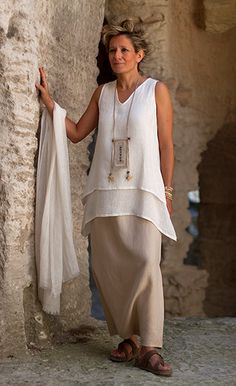Layered off white linen gauze top, sand beige linen sarouel-skirt, linen gauze scarf  Vintage linen necklace with printed Chinese calligraphy on handmade paper, coco and chunky grey granite beads, Chinese lucky coins on waxed cotton cords