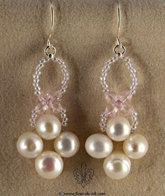 Pearl-n-crystal pink earrings by Fleur-de-Irk.deviantart.com
