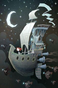 Barco, viagem, lua, seres.