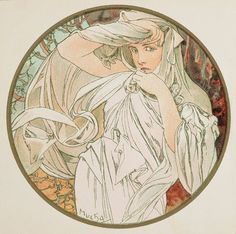 Alphonse Mucha - Month's of the Year - March - Art Nouveau Art Nouveau Mucha, Alphonse Mucha Art, Art Nouveau Poster, Art Deco Posters, Art And Illustration, Illustrations And Posters, Illustrator, Jugendstil Design, Inspiration Art