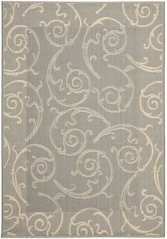 Safavieh CY2665-3606 Courtyard Indoor / Outdoor Grey and Natural Power Loomed Po
