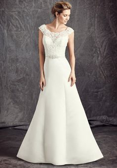 Satin A-line gown with illusion lace neckline | Kenneth Winston: Ella Rosa Collection | BE296 | http://www.theknot.com/fashion/be296-kenneth-winston-ella-rosa-collection-wedding-dress?utm_source=pinterest.com&utm_medium=social&utm_content=sep2016&utm_campaign=national&utm_simplereach=?sr_share=pinterest