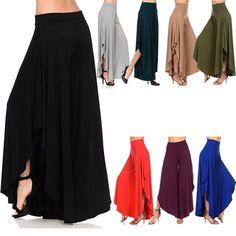 Women's Casual High Slit Layered Wide Leg Flowy Cropped Palazzo Pants Fashion Gs