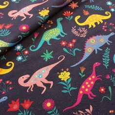 Floral Dinos Jersey, perfect for children clothing project and crafts sewing Projects For Kids, Craft Projects, Flamingo Fabric, Dinosaur Fabric, Dinosaur Design, Best Stretches, Fabulous Fabrics, Poland, Sewing Crafts