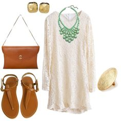 casual lace dress, created by eeseagull on Polyvore