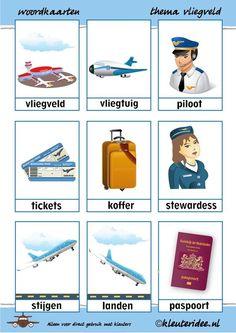 Word cards with theme airport - Thema op reis - taktak decor Teaching Kids, Kids Learning, Glenn Doman, Learn Dutch, Reading Response, Reading Fluency, Guided Reading, Dutch Language, School Items