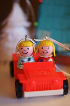 Anne's Odds and Ends: Fisher Price Friday - Christmas Gifts, Personalized vintage Fisher Price Little People ornaments