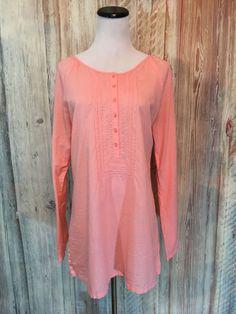 Lucy Activewear Peach Tunic Orange Cotton Embroidery Button Peasant sz M EUC! #LucyActivewear #Tunic