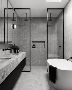 """STUDIO BLACK INTERIORS on Instagram: """"Grey on grey with black fixtures. Super sophisticated.   KBS residence  Interior design by @nickolasgurtler Photography by @dionrobeson"""" Contemporary Architecture, Contemporary Design, Architecture Design, Futuristic Architecture, Architecture Student, Bathroom Interior Design, Interior Decorating, Decorating Ideas, Small Bathroom"""