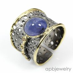 Handmade Jewelry Natural Blue Sapphire 925 Sterling Silver Ring Freesize/R31596 #APBJewelry #Ring