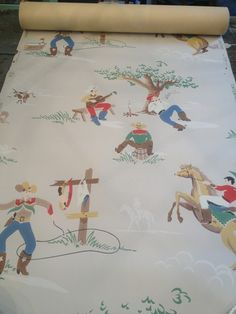 There is one triple roll in this pattern. The roll covers 105 square feet. Happy Trails, Old West, Little Boys, Vintage Fashion, Vintage Style, Baby Items, Vintage Items, Retro, Wallpaper