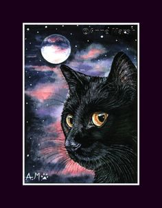 ACEO BLACK CAT NEW MOON LIMITED EDITION PRINT PAINTING ANNE MARSH | eBay