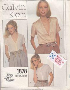 VOGUE Pattern with Label 1878 Size 8 Designer CALVIN KLEIN Cut Complete #Vogue #Blouse