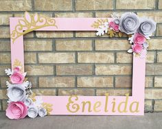 Pink Princess Birthday Frame Photo booth prop with 3D flowers