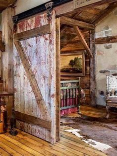 Cool Totally digging this rustic cabin! Who else loves barn doors? The post Totally digging this rustic cabin! Who else loves barn doors?… appeared first on Home Deco . Wooden Barn, Rustic Barn, Barn Living, Cabin Interiors, Log Cabin Homes, Sliding Barn Door Hardware, Sliding Doors, Interior Barn Doors, Architecture