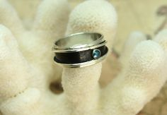 Blue Diamond & Sterling Silver Abstract Ring. $200.00, via Etsy.