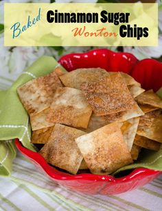 Cinnamon Sugar Wonton Chips. Made today. This is such a good snack for the kids. Crunch of a chip, sweetness of a dessert. Great quick thing to do with leftover wonton wrappers. ~BARB